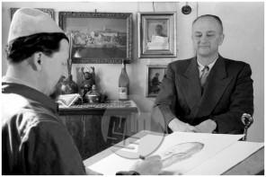 FS-4852-8: Božidar Jakac portretira Luisa Adamiča, Ljubljana, marec 1949, foto Božo Štajer.