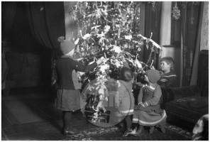 LP2079: Kočarjevi otroci pri božičnem drevesu, 1926, steklena plošča 10x15 cm.