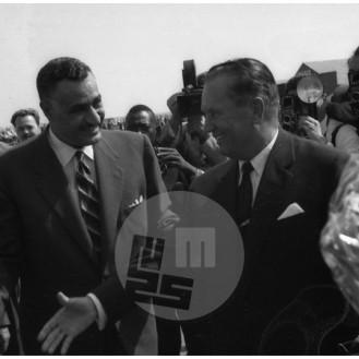 MŠ309_20: Zasedanje neuvrščenih v Beogradu od 1. do 6. septembra 1961, egiptovski predsednik Gamal Abdel Naser in predsednik Jugoslavije Josip Broz Tito.