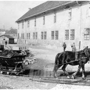 SL2287: Regulacija reke Ljubljanice, odvažanje materiala na vozičkih s konji.