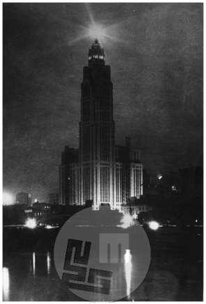 SL5350: Cleveland; veličastna palača, nočni posnetek, fotografski atelje Scherl`s Bilderdienst, Berlin.