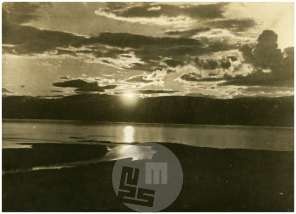 SL5372: Laponska; sončni zahod nad fjordi, press photo news servise, Berlin.