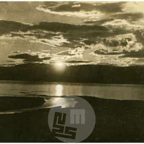 SL5372: Laponska; sončni zahod nad fjordi, press photo news servise, Berlin.
