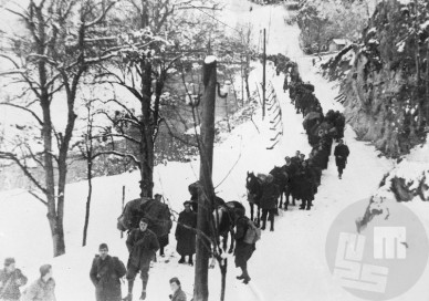Enote 14. divizije pred prehodom preko ceste Rimske Toplice - Jurklošter 12. februarja 1944. Foto: J. Petek