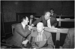 Dob_18, Slovenska olimpionika Leon Štukelj in Miro Cerar ter predsednik Olimpijskega komiteja Slovenije Janez Kocjančič