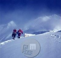 Do taborov na gori je bilo potrebno prinesti tudi kisikove bombe, ki so jih potrebovali za vzpon na vrh. Dosegli so dva vrhova Anapurn - vrh Anapurne II , v ozadju levo in vrh Anapurne IV- na desni. Foto: Aleš Kunaver.