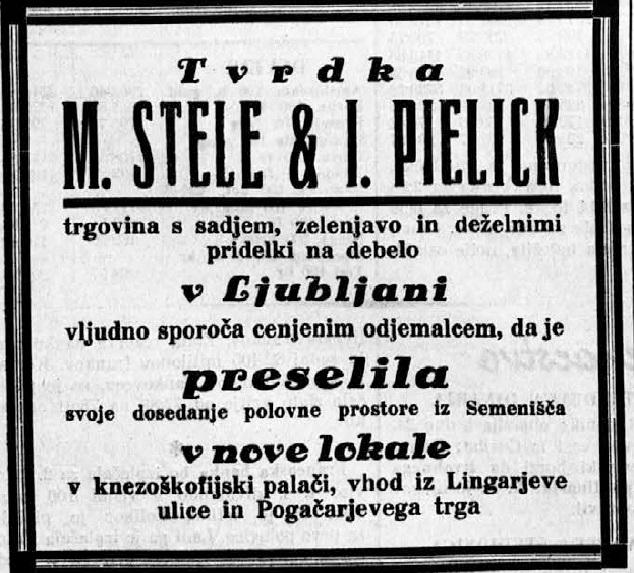 Oglas iz Trgovskega lista.