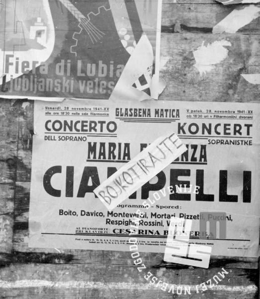 Poziv k bojkotu italijanskega koncerta v Ljubljani, november 1941, foto: Marjan Pavlin