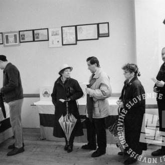 NB711_73: Vrste na volišču, 8. april 1990, foto: Nace Bizilj, hrani: MNZS.