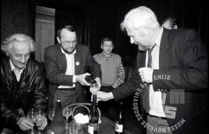 volitve 90_1: Veno Taufer, Anton Tomažič, Tone Peršak in Hubert Požarnik, foto: Tone Stojko, hrani: MNZS.