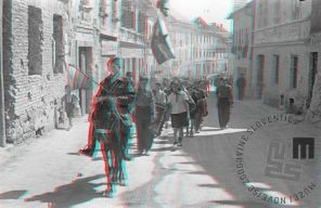 FS2200_2a: Manifestacija mladine v Novem mestu, 8. maj 1945. Foto: avtor ni naveden. A celebration of the youth in Novo Mesto, May 8th, 1945. Photo: the author is not mentioned.