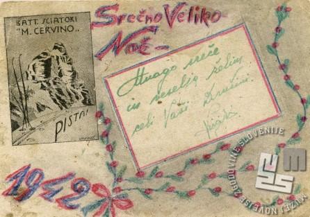 Razglednica, ki jo je Virgilij Tavčar ozaljšano in v slovenščini napisano poslal domov za Veliko noč leta 1942. Napisal jo je v vojaški bolnici v Stalinu, kjer se je zdravil zaradi ozeblin. Ozebline je dobil marca 1942 med čakanjem na ukaz za napad utrjenega železniškega križišča Olchowatka (Ukrajina). Poleg šestdesetih vojakov z omrzlinami na nogah jih je dvanajst padlo, osemnajst pa jih je bilo ranjenih (hrani Virgilij Tavčar).