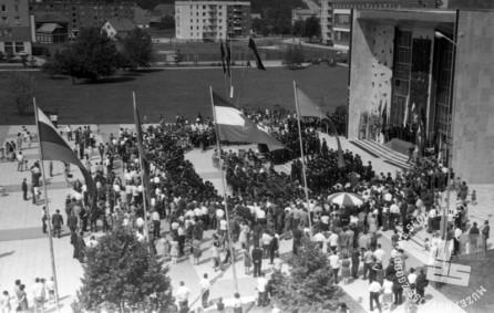 DE3807_2: Dan rudarjev v Velenju, 3. julij 1966, foto: Svetozar Busić.