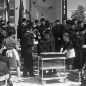 DE3807_: Dan rudarjev v Velenju, 3. julij 1966, foto: Svetozar Busić.