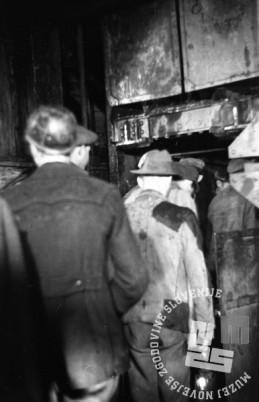 FS4169_4: Rudarji vstopajo v rov. Rudnik Trbovlje, november 1947, foto: Leon Jere.