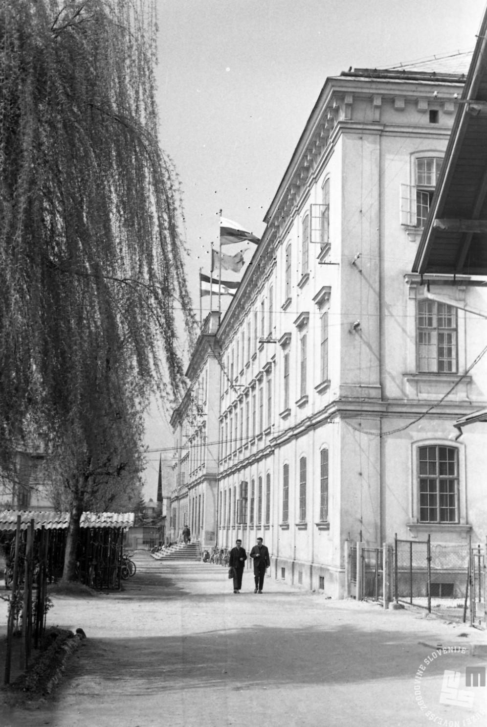 MC630507_5: Obsežen tovarniški kompleks je bil zgrajen med letoma 1871 in 1890. Načrte zanj so zarisala na Dunaju in je bil med največjimi v Avstro - Ogrski monarhiji in največji v mestu. Ljubljanska tobačna tovarna je bila tipska, s svojim paviljonskim sistemom in programom pa je bila mesto v mestu. Ljubljana, 1963, foto: Marjan Ciglič.