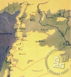 Zemljevid Sirije (reprodukcija iz knjige). / A map of Syria (reproduction from a book).