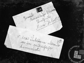 pl133: Nepodpisano pismo, s katerim je neznan izdajalec opozoril italijanske oblasti na tiskarno in njeno delovanje. Foto: neznan.