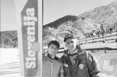 BB951_21: Republiško prvenstvo v Planici, 23. 12. 1990. Levo Franci Petek, desno Lojze Gorjanc, selektor. Foto: Nace Bizilj.