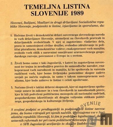 Temeljna listina Slovenije 1989