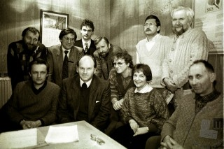 Predstavniki koalicije Demos, Ljubljana, 8. 1. 1990, foto: Tone Stojko.