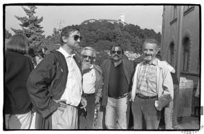 Na zborovanju v podporo četverici: Rudi Šeligo, Veno Taufer, Drago Jančar, Dane Zajc, Ljubljana, 21. 6. 1988, foto: Tone Stojko.