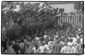 """""""Tiskovna konferenca"""" Francija Zavrla med sojenjem četverici, Ljubljana, 25. 7. 1988, foto: Tone Stojko."""