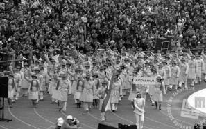DE6662_027 Odprtje 14. zimskih olimpijskih iger v Sarajevu, sprevod jugoslovanskih športnikov, 8. 2. 1984 foto: Janez Pukšič, zbirka časopisne hiše Delo.