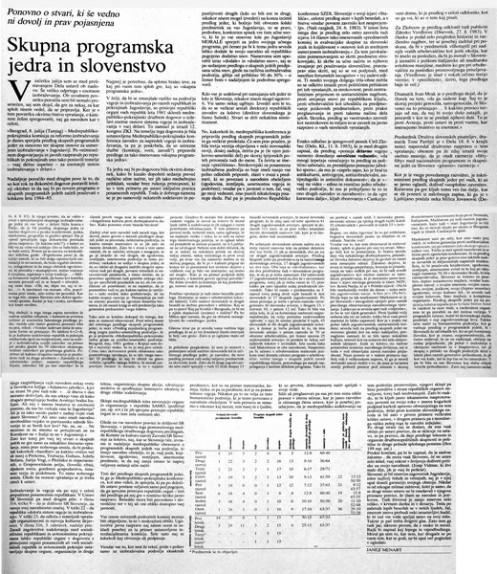 Prispevek Janeza Menarta o skupnih programskih jedrih v Delu, 1983