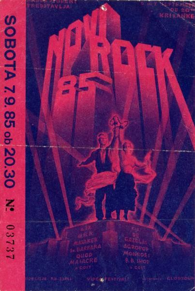 Vstopnica za festival Novi rock 1985.