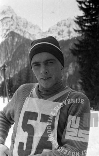 ES1380_19: Jože Šlibar med Tednom smučarskih poletov v Planici marca 1960. Foto: Edi Šelhaus.
