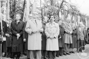 MC9104: Predsednik borčevske organizacije Slovenije Ivan Dolničar in član republiškega predsedstva Ciril Zlobec. Foto: Marjan Ciglič.