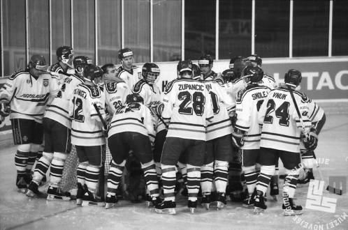 NB9103_180: Svetovno prvenstvo skupine B v hokeju na ledu marec-april 1991. Foto: Nace Bizilj.