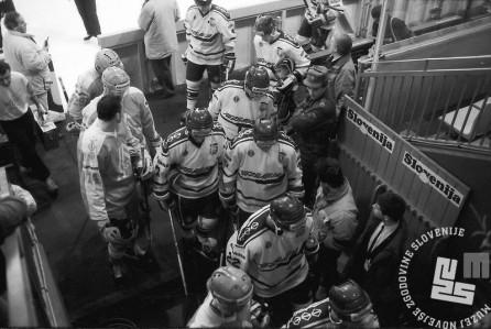 NB9103_182: Svetovno prvenstvo skupine B v hokeju na ledu marec-april 1991. Foto: Nace Bizilj.