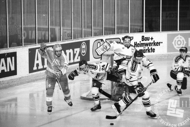 NB9103_186: Svetovno prvenstvo skupine B v hokeju na ledu marec-april 1991. Foto: Nace Bizilj.