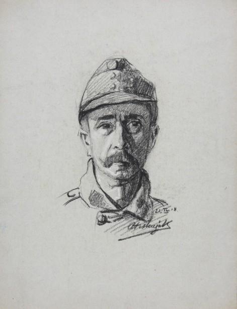 Ante Trstenjak, Portret avstrijskega vojaka, 21. 4.1918, oglje, papir; inv. št. 9885 (Muzej novejše zgodovine Slovenije)