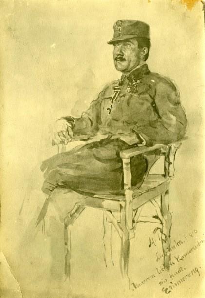 Portret dr. Jožeta Bohinjca, ki ga je leta 1916 narisal Robert Hlavaty. Dr. Jože Bohinjec (1888-1941) je bil po vojni ravnatelj Okrožnega urada za zavarovanje delavcev in predsednik Protituberkulozne lige. (Hrani Muzej novejše zgodovine Slovenije)