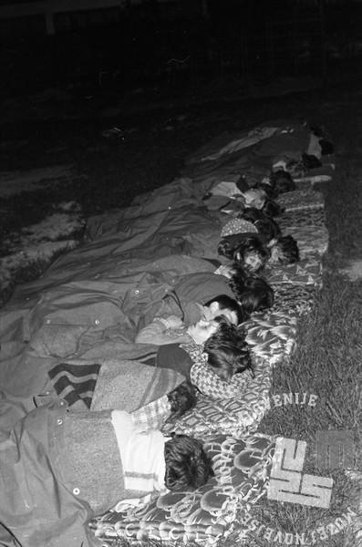 DE5667: Potresno noč so otroci prespali kar v travi. 7. maj 1976. Foto: Svetozar Busić.