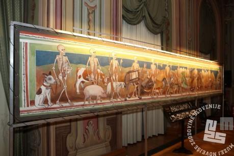 Živali 1914- 18: slika po motivu mrtvaškega plesa Janeza iz Kastva, 104 x 694 cm, akril na platnu