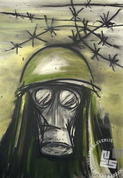 Darko Lesjak, Plinski napad /Gas Attack 1, oglje in pastel na papirju, 2013