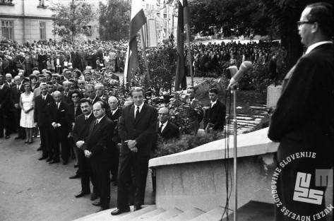 FS1654_4: Komemoracija na Taboru za žrtvami letalske nesreče na Brniku. Ljubljana, 3. september 1966. Foto: Sašo Bernardi.
