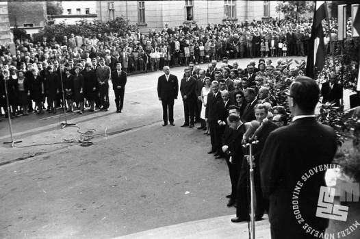 FS1654_5: Komemoracija na Taboru za žrtvami letalske nesreče na Brniku. Ljubljana, 3. september 1966. Foto: Sašo Bernardi.