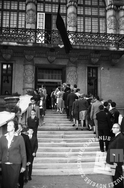 FS1654_15: Komemoracija na Taboru za žrtvami letalske nesreče na Brniku. Ljubljana, 3. september 1966. Foto: Sašo Bernardi.