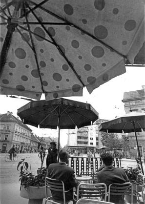 Pogled na Ljubljano izpod senčnika, 1950. leta. Foto: neznan