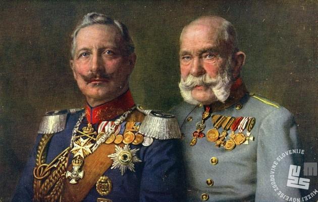 R201: Nemški cesar Viljem in avstroogrski cesar in kralj Franc Jožef. Hrani: Muzej novejše zgodovine Slovenije.