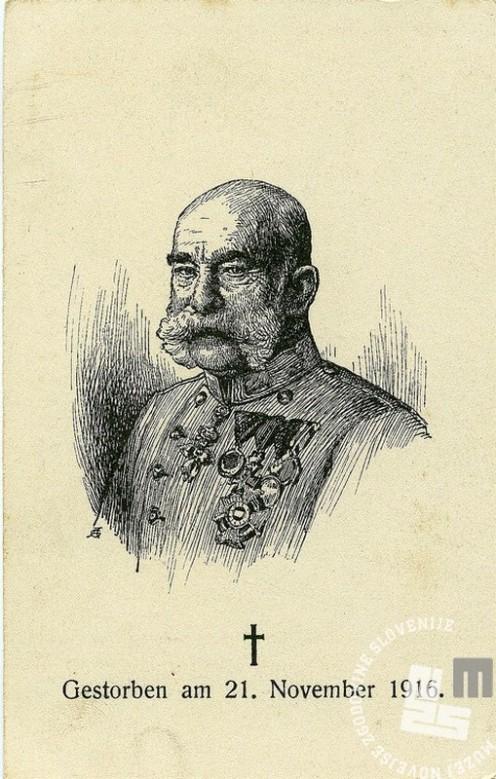 R209: Razglednica s cesarjevo podobo ob njegovi smrti. Hrani: Muzej novejše zgodovine Slovenije.