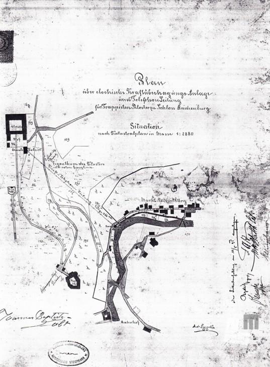 Načrt izgradnje električne in telefonske napeljave do gospodarskih poslopij samostana iz leta 1895. (Arhiv Celje)