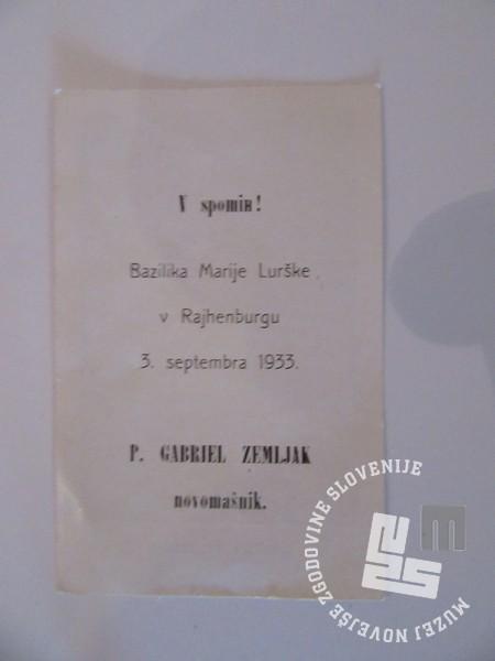 Novo mašo je pater Gabriel Zemljak opravil v baziliki Marije Lurške v Rajhenburgu leta 1933. Hrani: MNZS.