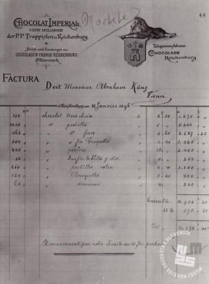 7. Primerek fakture Tovarne čokolade Imperial s cenami proizvodov, hrani: MNZS.