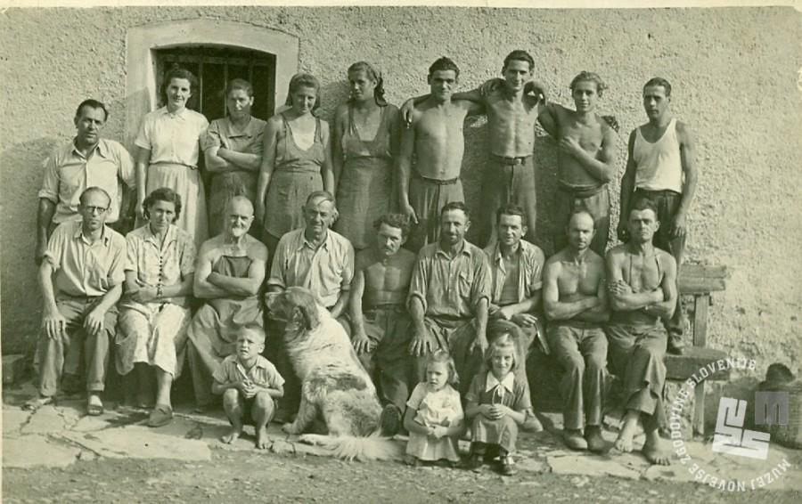 12. Skupina zaposlenih Rajhenburškega okrajnega gospodarstva na Sremiču. Četrti z leve je Dominik Puc